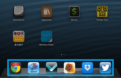 iPad miniのDockにはアイコンが6個置けるんですね