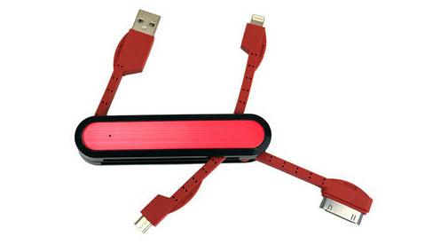 4種類の端子を搭載!アーミーナイフ型Lightningケーブルがあれば、どの端末でも充電できる!